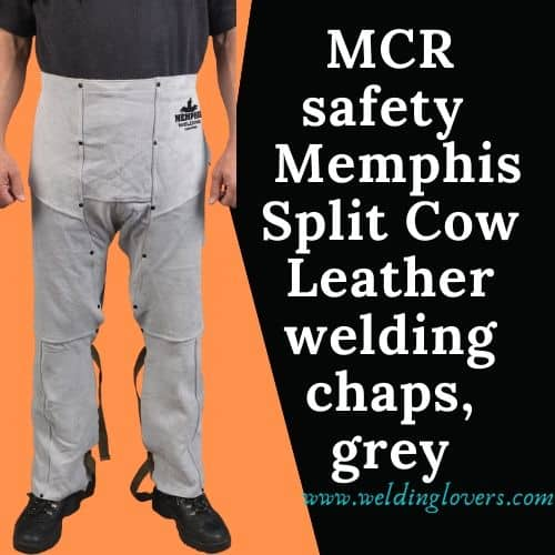 MCR safety 38600mw 38 by 24-inch Memphis Split Cow Leather welding chaps, grey